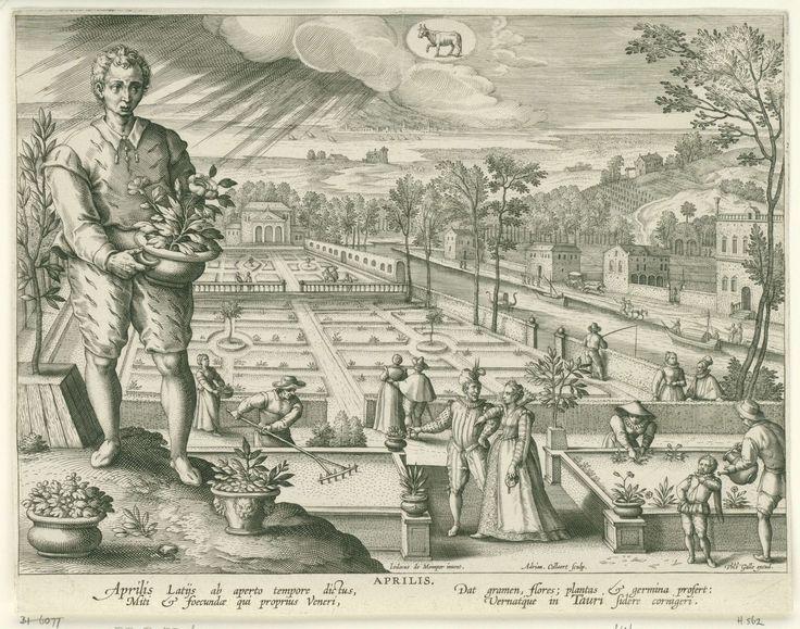 Adriaen Collaert   The Month of April, Adriaen Collaert, Cornelis Kiliaan, Philips Galle, 1586 - 1618   Op de voorgrond links staat een jongeman met een bloempot in de handen. Op de achtergrond wordt een tuin aangelegd. Middenboven in de wolken het astrologisch teken van het stier. De prent heeft een Latijns onderschrift en is deel van een twaalfdelige serie over de maanden van het jaar.