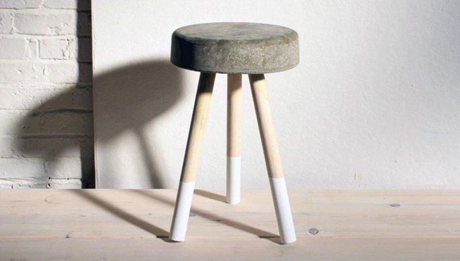 Not very crafty in the woodworking department? Well, you can still create some sweet furniture for your pad without table saws and routers. To make this minimalist DIY bar stool, you just need concrete mix, wooden dowels, and a bucket.