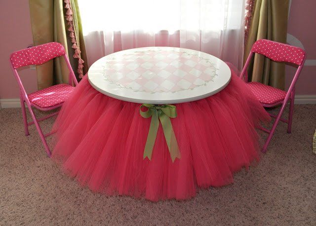 DIY Tutu Table – Gorgeous Decorating Idea for Your Little Girl's Bedroom...Doing this on Bethany's built in desk instead of a table!