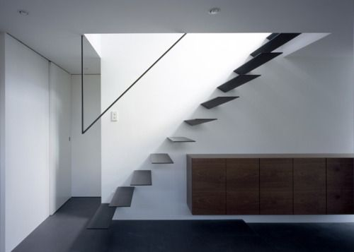 Just love the floating stairs, wonder about how to minimize the deflection moment when climbed