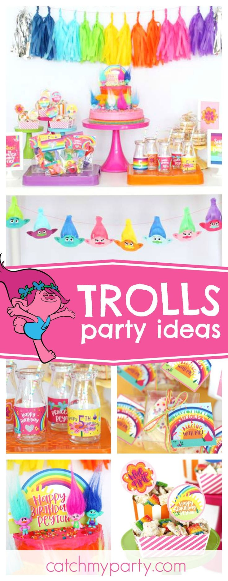 Check out this awesome colorful Trolls birthday party! Love the trolls garland!! See more party ideas and share yours at CatchMyParty.com