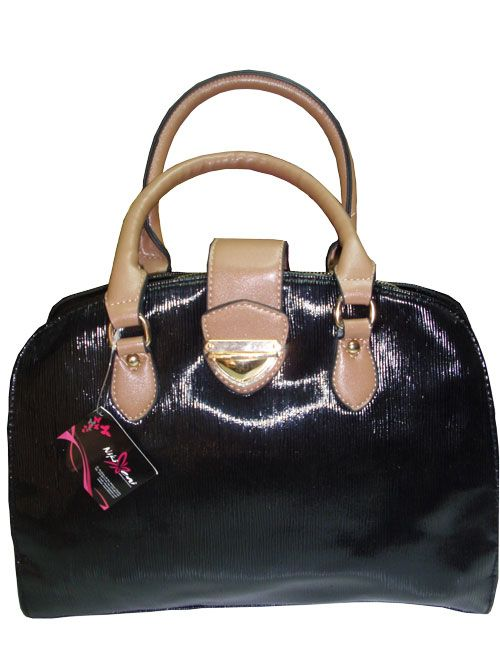 shiny leather,laptop sized business bag with a zip all around._fashion woman accessories.
