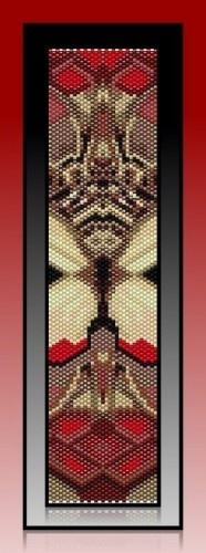 """This listed pattern for """"Red Butterfly Abstract"""" was created in Odd Count, Peyote stitch using Miyuki Delica, size 11 seed beads."""