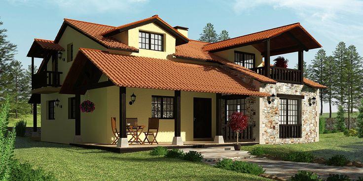 Sensibilidad piedra y madera modelo la bra a de grupo mera casas r sticas pinterest - Casas piedra y madera ...