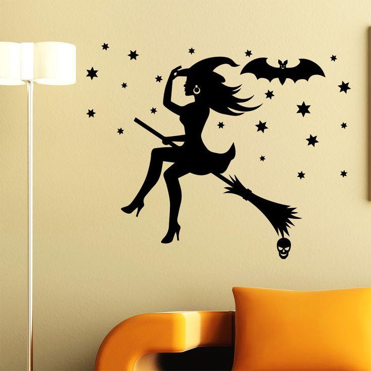 Halloween With on Broom Wall Sticker Home Decoration Decal Decor Window MR807 #Stickalz