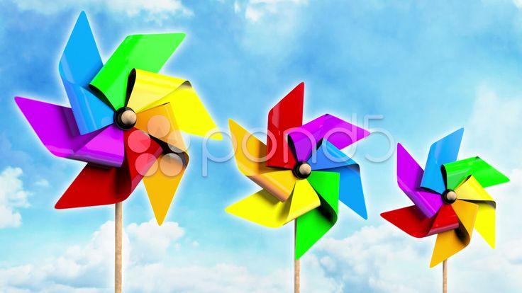 Rainbow Spinning Pinwheels on the Sky - Stock Footage | by maraexsoft
