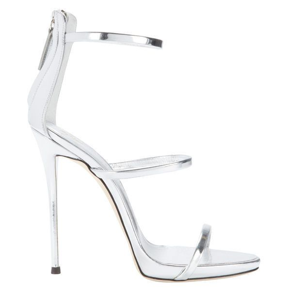 Giuseppe Zanotti Coline Silver Strappy Sandals ($845) ❤ liked on Polyvore featuring shoes, sandals, metallic, monk-strap shoes, metallic strappy sandals, giuseppe zanotti sandals, silver strappy sandals and silver strap sandals