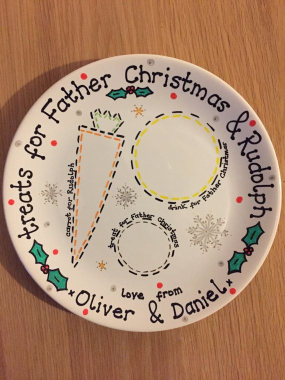 christmas eve plate santa plate personalised by TheCraftyBlueKiwi