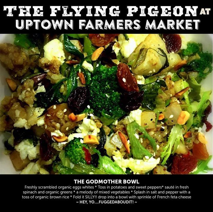 THE GODMOTHER BOWL Freshly scrambled organic eggs whites  Toss in potatoes and sweet peppers sauté in fresh spinach and organic greens  a melody of mixed vegetables  Splash in salt and pepper with a toss of organic brown rice  Fold it SILLY!! drop into a bowl with sprinkle of French feta cheese