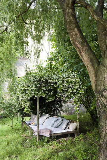 cozy garden reading nook