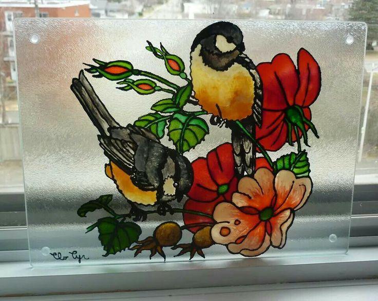 Faux vitrail cabane oiseaux pinterest - Faux oiseaux decoration ...