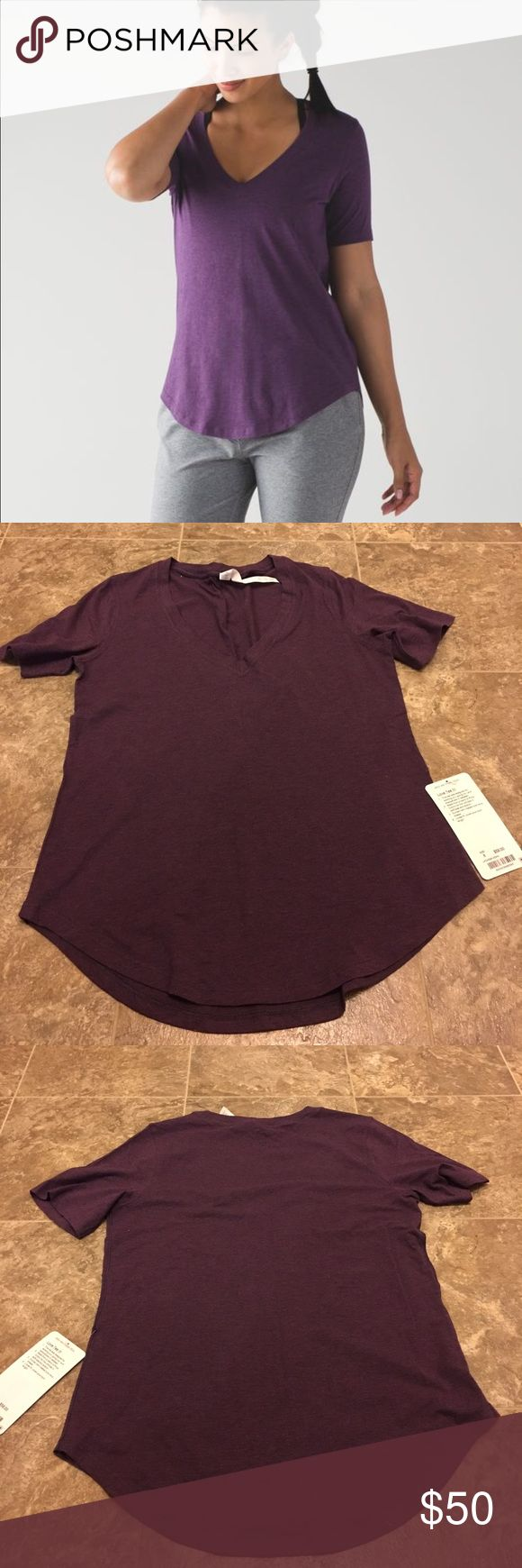 Lululemon Love Tee Heathered Magenta size 8 V neck. COLOR CODE IS HEATHERED DARKEST MAGENTA. color most accurate to stock photo. No trades. PRICE FIRM. V neck lululemon athletica Tops Tees - Short Sleeve