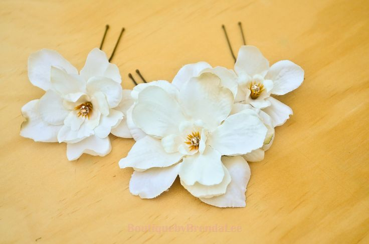 BRENDA LEE A set of 3 Cream Delphinium Flower U pins/floral hair accessory 40929 by BoutiquebyBrendaLee on Etsy
