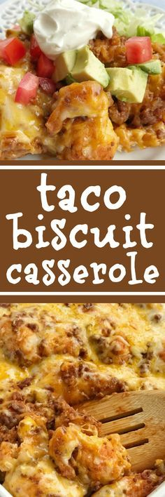 Taco biscuit casserole is an easy & simple one pot meal. Puffed up refrigerated biscuits smothered in a beefy taco mixture and topped with melted cheese. Customize with your favorite taco toppings and you have a delicious dinner recipe that the entire family will love | www.togetherasfamily.com #dinnerrecipes #tacos #casserolerecipes
