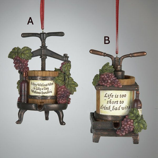 Wine Press Ornament 2 Assorted