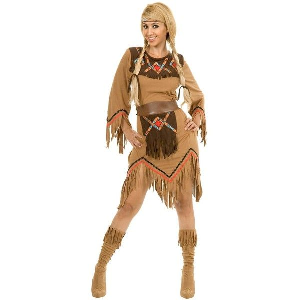 Sacajawea Indian Maiden Adult Costume (115 BRL) ❤ liked on Polyvore featuring costumes, halloween costumes, womens costumes, ladies halloween costumes, adult halloween costumes, adult women costumes and captain america womens costume