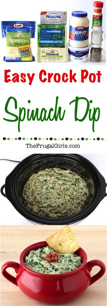Easy Crock Pot Spinach Dip Recipe! ~ from TheFrugalGirls.com ~ Creamy, rich and savory. This Crock Pot Spinach Dip is going to give that old school spinach dip a kick in the pants. And I blame the bacon! It's perfect for your holiday parties and a must