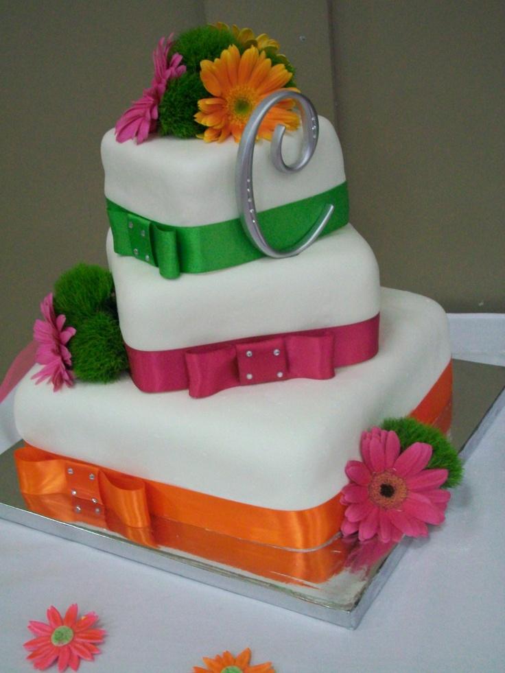 Gerbera Daisy Tiered Wedding Cake