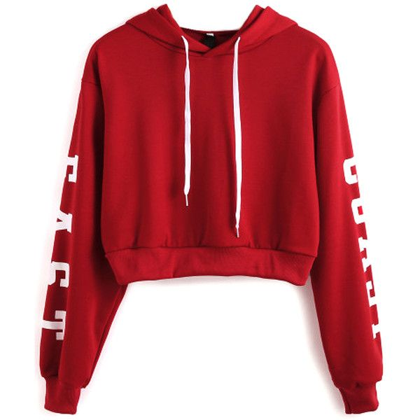 Burgundy Letter Print Cropped Hoodie (35 CAD) ❤ liked on Polyvore featuring tops, hoodies, red top, hooded pullover, cropped hoodies, red hoodie and hooded sweatshirt