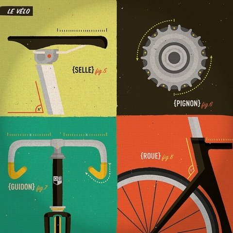 #bicycle. Pretty cool illustration...Design Inspiration, Bikes Design, Trackosaurus Rex, Bikes Illustration, Graphics Design, Retro Bikes, Bikes Art, Le Vélo, Design Posters