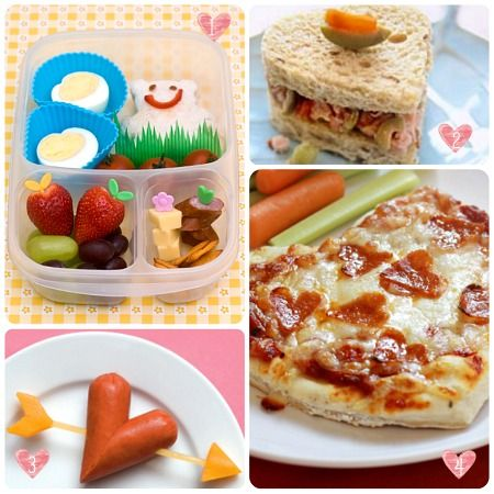 clever v-day meals for kids-- look at the heart shaped hot dog!!!