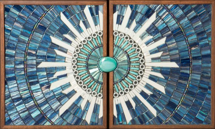 Blue Burst Mosaic Furniture Handles by mosaic artist Dyanne Williams for John Strauss Furniture.