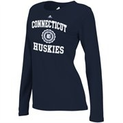 adidas UCONN Huskies Womens College Seal Long Sleeve T-Shirt - Navy Blue