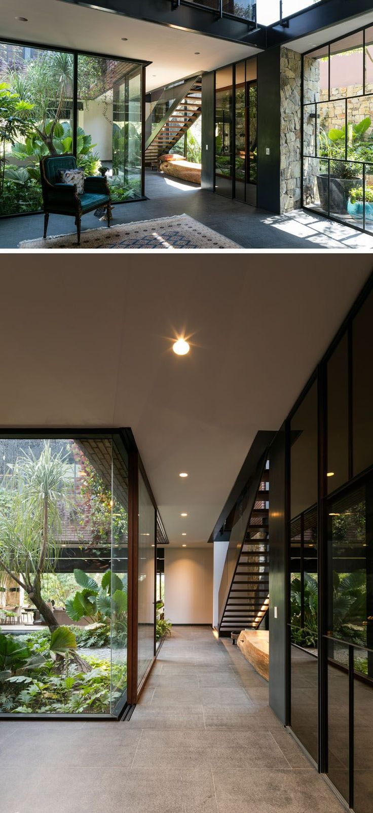 This modern house has a glass wall that shows off the internal courtyard from hallway.