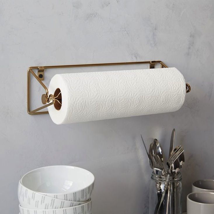 mountable paper towel holder from the wire kitchen collection by west elm via remodelista - Kitchen Towel Holder Ideas