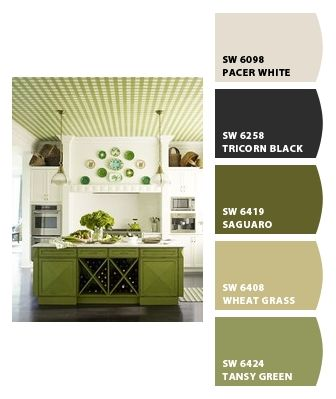 Love this!! Green kitchen  Paint colors from Chip It! by Sherwin-Williams