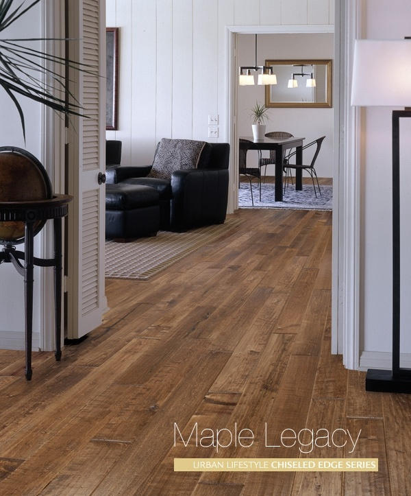 Maple Legacy CEC-901-ML The distressed surface and chiseled edges give this wood flooring a rugged and rustic yet timeless look. Rust, sepia and sienna hues blend with the natural grain for a beautifully unique effect.