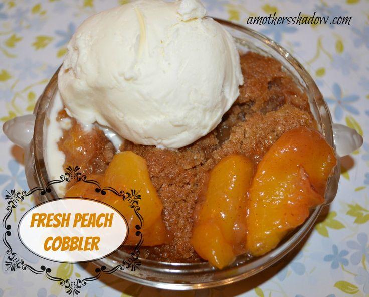 Fresh #Peach Cobbler at AMothersShadow.com #dessert