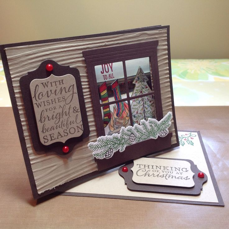 This is a Twisted Easel carrd. I used the Window Thiinlits, Festive Pines stamp and matching Thinlits, and the Fireplace stamp and matching Thiinlits from  Stampin' Up! If you would like any of these stamps and/or thinlits, you can purchase them through me.