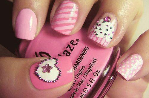 Cute, especially love the cupcake and polka dot nails.