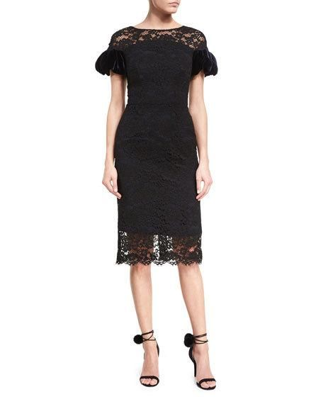 Corded Lace Puff-Sleeve Cocktail Dress