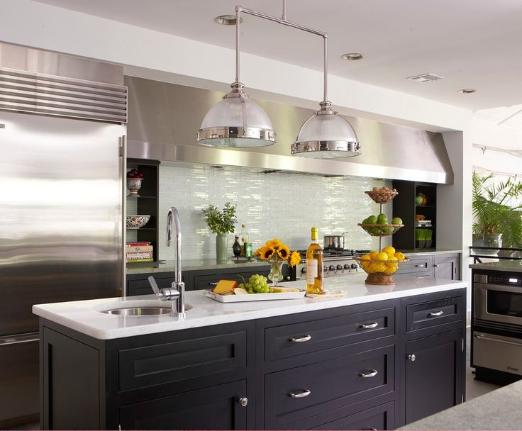 Inspiring Pictures of Kitchen Backsplashes for Kitchen Decor Ideas: Cool Kitchen With Kitchen Island And Industrial Penddant Lighting Also Pictures Of Kitchen Backsplashes With Range Hood And Shelves