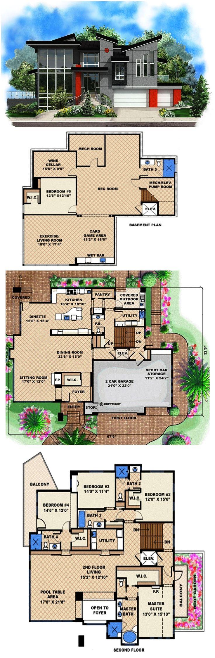 Modern Style House Plan 75953 3 Car Garage House Plans Modern Style House Plans New House Plans