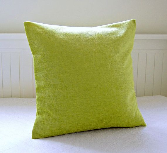 This lovely 18 inch (45 cm) lime green accent cushion cover is a velvet chenille, soft to the touch with a sheen.  Fabric on the reverse is the SAME and has an envelope opening / serged for added strength and a neat finish.  home decor weight and washable  1 x cover only supplied - Cushion insert is not included.  2nd photo shows other covers available here: www.etsy.com/listing/111119008/pair-of-pillow-covers-teal-blue-lime?ref=v1_other_2  *Please read shipping polic...