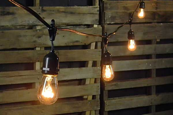 commercial edison drop string lights 48 foot black wire. Black Bedroom Furniture Sets. Home Design Ideas
