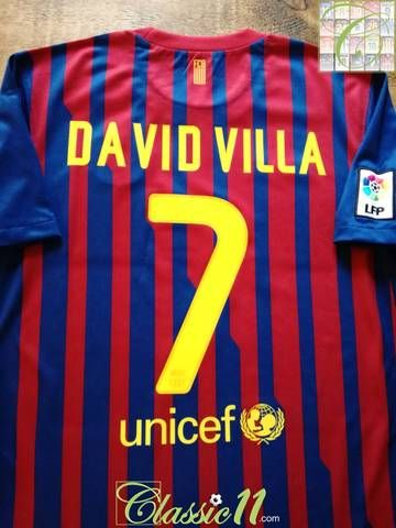 9a74e8f0f Official Nike Barcelona home football shirt from the 2011 12 season.  Complete with David Villa  7 on the back of the shirt in official  lettering