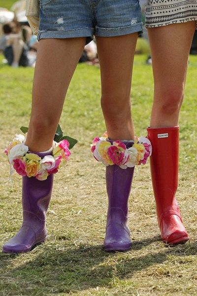Glastonbury 2013 Customised Wellies! #fashion #hunter #flower