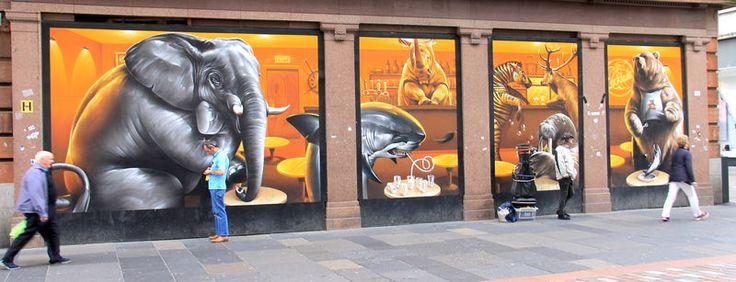 """Street Art Glasgow - """"Argyle Street Cafe"""", autor: Smug"""