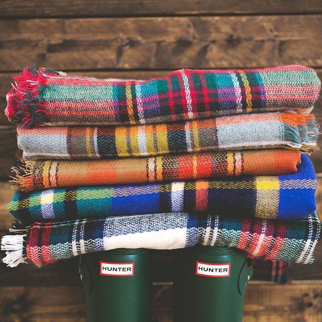 Blanket Scarves & Hunter Boots