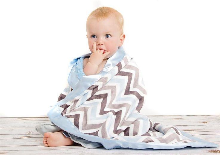 Blue Zig Zag baby blanket