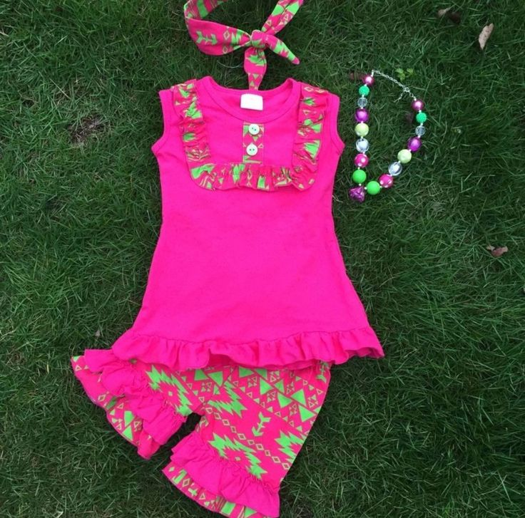 Hot Pink and Lime Short Set with Hairband and Necklace