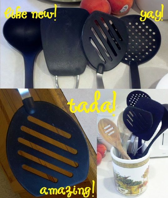 """How to clean nasty-looking utensils. Blog post says: """"I put about 1/4 cup of baking soda in a small glass bowl and squirt in hydrogen peroxide until it makes a nice paste.  Then I rub it on the offending dirt/stain/grease…whatever!  I usually just use my fingers…but I also use a small sponge at times as well."""""""
