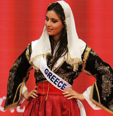 Miss Greece 2012, in her national outfit for the Miss ...