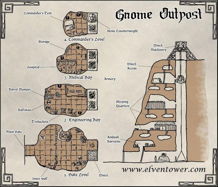 Map 45 – Gnome Outpost. Visit Derek Von Zarovich's Patreon page for high resolution maps (https://www.patreon.com/elventower)