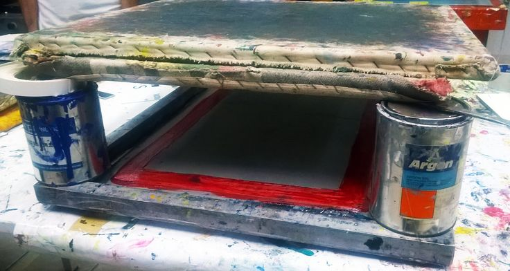Transferring a silkscreen to a new screen print,which dimensions are smaller than the originals.We put the large screen print on top of the smaller one,then we add glue to its edges and add pressure until the glue is dry.