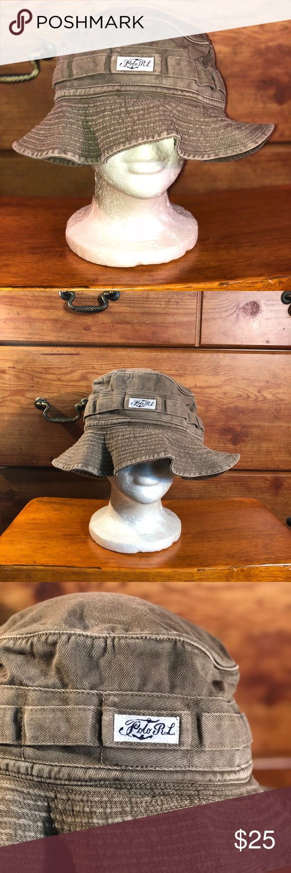 Polo Ralph Lauren Mens Bucket Hat Sz S/M Polo by Ralph Lauren Men's Bucket Hat Sz S/M Color: Brownish tan (Small White & Blue Polo R.L Patch) USED  Condition:10/10 Polo by Ralph Lauren Accessories Hats